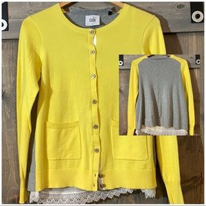 CAbi yellow and gray cardigan size small